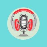 Hörlurar och vektor för design för radiomikrofonlägenhet Royaltyfri Bild