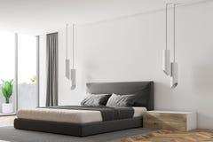 Hörn av ett lyxigt vitt sovrum stock illustrationer