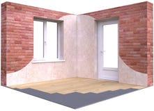 Hörn av ett rum med en dörr och ett fönster Royaltyfri Illustrationer