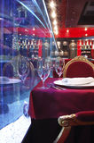 Hörn av tabellen i restaurangen Arkivbild