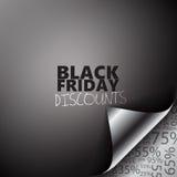 Hörn för Black Friday rabattsida Arkivbilder