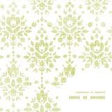Hörn för ram för blomma för grön textil för vektor damast Royaltyfri Foto