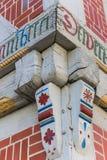 Hörndetaljen av en färgrik halva timrade huset i Verden Royaltyfria Bilder