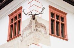 Hörnet av huset dekorerade med en dekorativ ljuskrona i slotten av den gamla staden Sighisoara stad i Rumänien royaltyfri foto