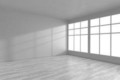 Hörnet av vitt tömmer rum med stora fönster Fotografering för Bildbyråer