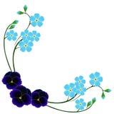 Hörnet med blått glömmer mig inte blommor och pansies vektor illustrationer