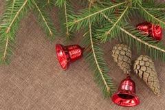 Hörnet som göras av grön gran, förgrena sig med röda klockor och grankotten Royaltyfri Foto