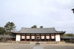 Hörsal av den Horyu jien i Nara Royaltyfria Bilder