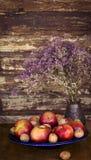 Höst Äpplen och valnötter på en platta Royaltyfri Bild