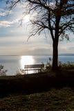 Höst en parkerabänk på sjön Balaton Arkivfoto