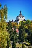 """Höst för ny slott och Calvary†""""i Banska Stiavnica, Slovakien Arkivfoto"""