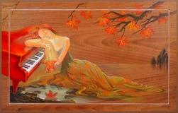 Höst i Douarnenez Stående av härliga kvinnor som drömmer i fantasimiljön Olje- målning på trä Arkivfoton