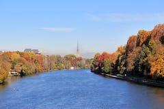 Höst i Turin & x28; Torino& x29; , panorama med floden Po och vågbrytaren Antonelliana, Italien Arkivfoto