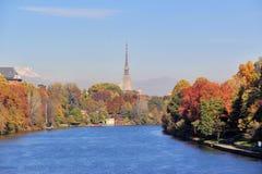 Höst i Turin & x28; Torino& x29; , panorama med floden Po och vågbrytaren Antonelliana, Italien Arkivbilder