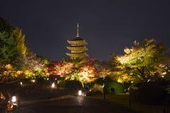 Höst KYOTO JAPAN på den Toji templet Arkivfoton