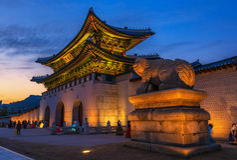 Höst på den Gyeongbokgung slotten i seoul, Korea Royaltyfri Fotografi