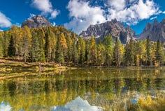 Höst på sjön Antorno under Cadini maxima royaltyfria bilder