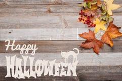 Höst Pumpor på träbakgrund lyckliga halloween Arkivfoton