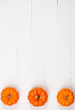 Höst: Rad av tre Mini Pumpkins Border Background Royaltyfri Bild