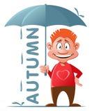 Höst Rolig röd grabb med paraplyet Royaltyfri Foto