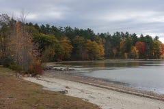 Höst sjö i Raymond, Maine med den sandiga stranden, blåa himlar royaltyfria bilder