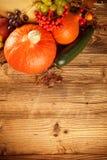 Höst skördad frukt och grönsak på trä Arkivfoton