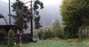 Höst-vinter saga i bergen, Transcarpatia, Ukraina lager videofilmer