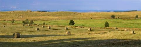 Höstack i fälten fotografering för bildbyråer