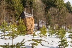 Höstack i insnöat de Carpathian bergen, Ukraina Royaltyfri Fotografi
