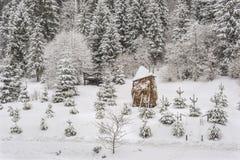 Höstack under insnöat de Carpathian bergen, Ukraina Fotografering för Bildbyråer