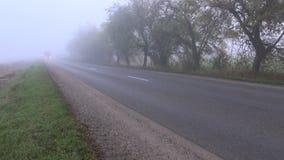 Höstasfaltväg med den röda lastbilen och dimma stock video