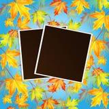 Höstbakgrund med lönnlöv och ram för foto Royaltyfri Fotografi