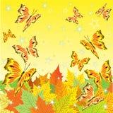 Höstbakgrund med nedgångsidor och fjärilar Arkivfoto