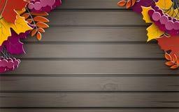 Höstbaner, trädpapperssidor, träbakgrund, design för baner för försäljning för nedgångsäsong, affisch eller kort för tacksägelsed royaltyfri illustrationer