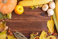 Höstbegrepp av grönsaksikten från ovannämnt på en påse och en brun trätabell Begreppsmässigt skörddiagram med olika grönsaker på  fotografering för bildbyråer