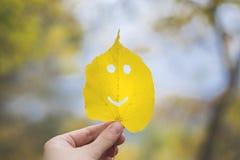 Höstblademoji, smiley i en hand fotografering för bildbyråer