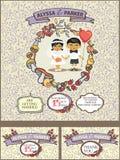 Höstbröllopinwitation Den gulliga asiatet behandla som ett barn par Arkivfoto