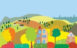 Höstbygdlandskap med träd, hus, kor Royaltyfria Bilder