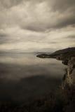 Höstdag på sjön Ohrid macedonia Arkivbild