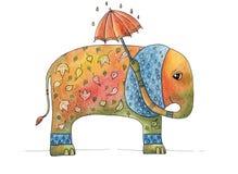 Höstelefant med ett paraply arkivbild