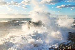 hösten beams stormen för havet för svarta oklarheter den sol- crimea Sprej färgstänk, plaskar, vaggar och solljus royaltyfri foto