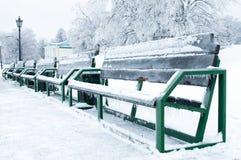 hösten benches parklandskap Royaltyfri Bild