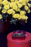 Hösten blommar i en kruka Gul chrysanthemum Nästa gåvor i tenn- askar royaltyfria bilder