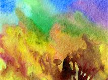 Hösten för träd för skogen för guling för brunt för slaglängder för abstrakt begrepp för vattenfärgkonstbakgrund texturerade den  Arkivfoto