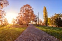 Hösten i Prague, parkerar den favorit- turist- destinationen Letna sady Letenske, Tjeckien royaltyfri bild