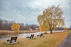 Hösten i staden parkerar Tyst ställe bredvid floden Arkivfoto