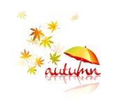 hösten låter vara paraplyet Stock Illustrationer
