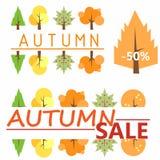 hösten låter vara rött försäljningsord ställning Till salu mall Mall för logoen En ovanlig logo Snart till skolan Skolaförsäljnin Royaltyfri Foto