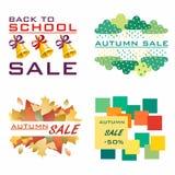 hösten låter vara rött försäljningsord Till salu olika logoer Till salu mall Mall för skolahöstkort Arkivbilder