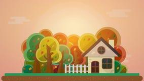 Hösten landskap stock illustrationer